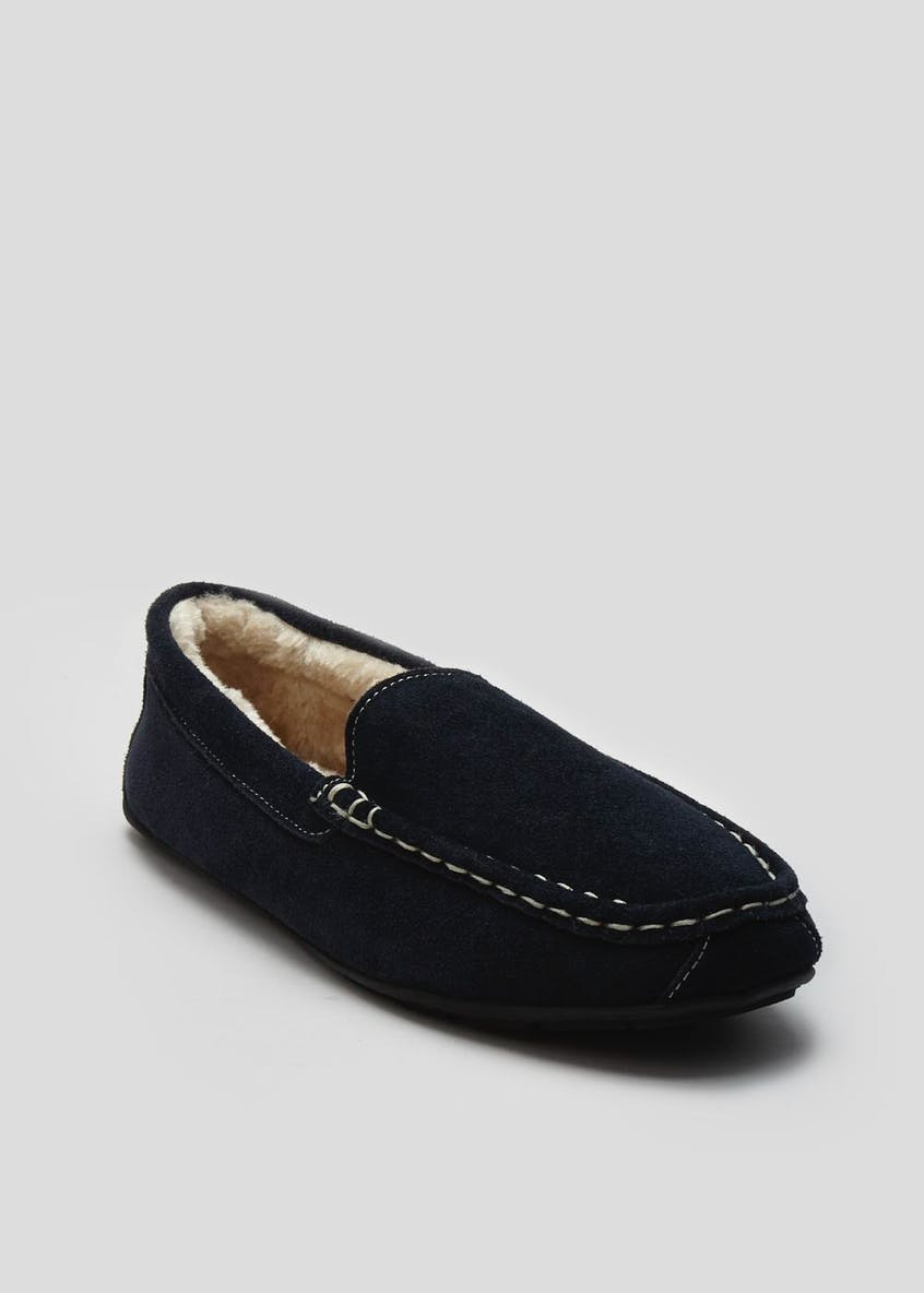 Real Suede Moccasin Slipper