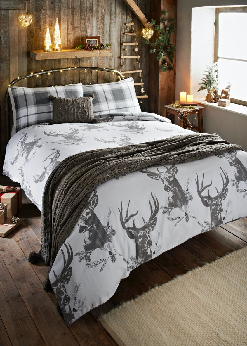 100% Cotton Stag Christmas Duvet Cover