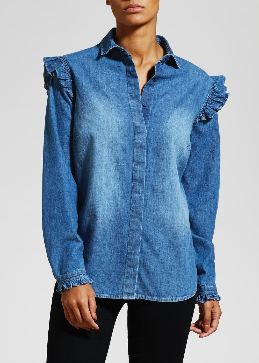 Frill Denim Shirt – Lightwash – Matalan