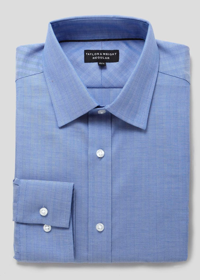 Easy to Iron Cotton Regular Fit Herringbone Shirt