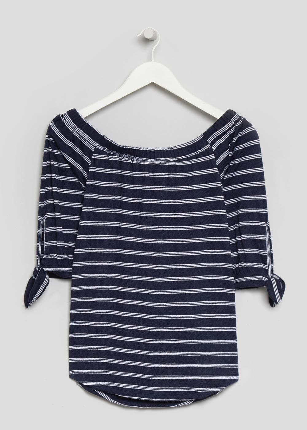 df6c1bf01cf640 Textured Stripe Bardot Top – Navy – Matalan