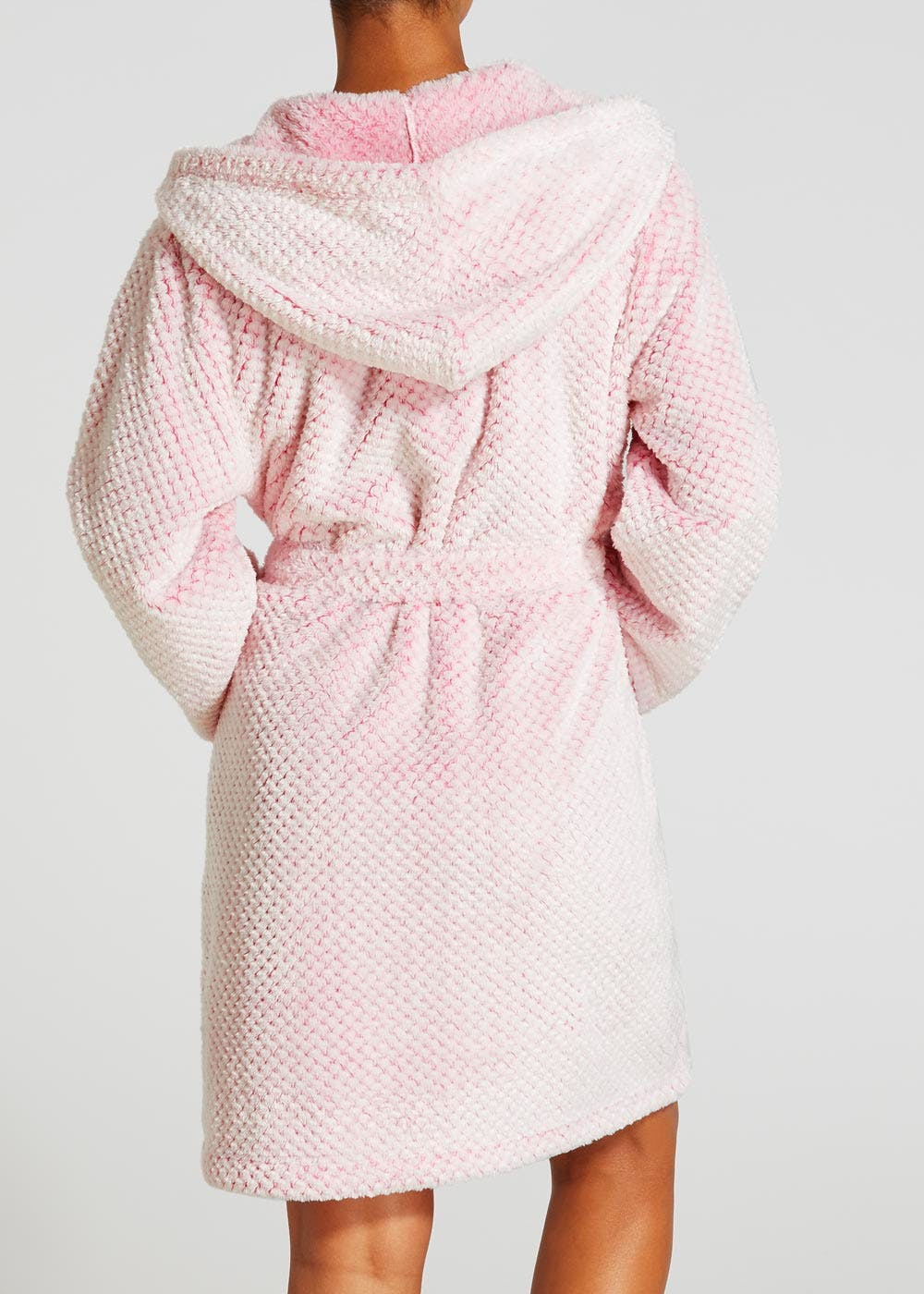 Honeycomb Textured Short Dressing Gown – Pastel Pink – Matalan