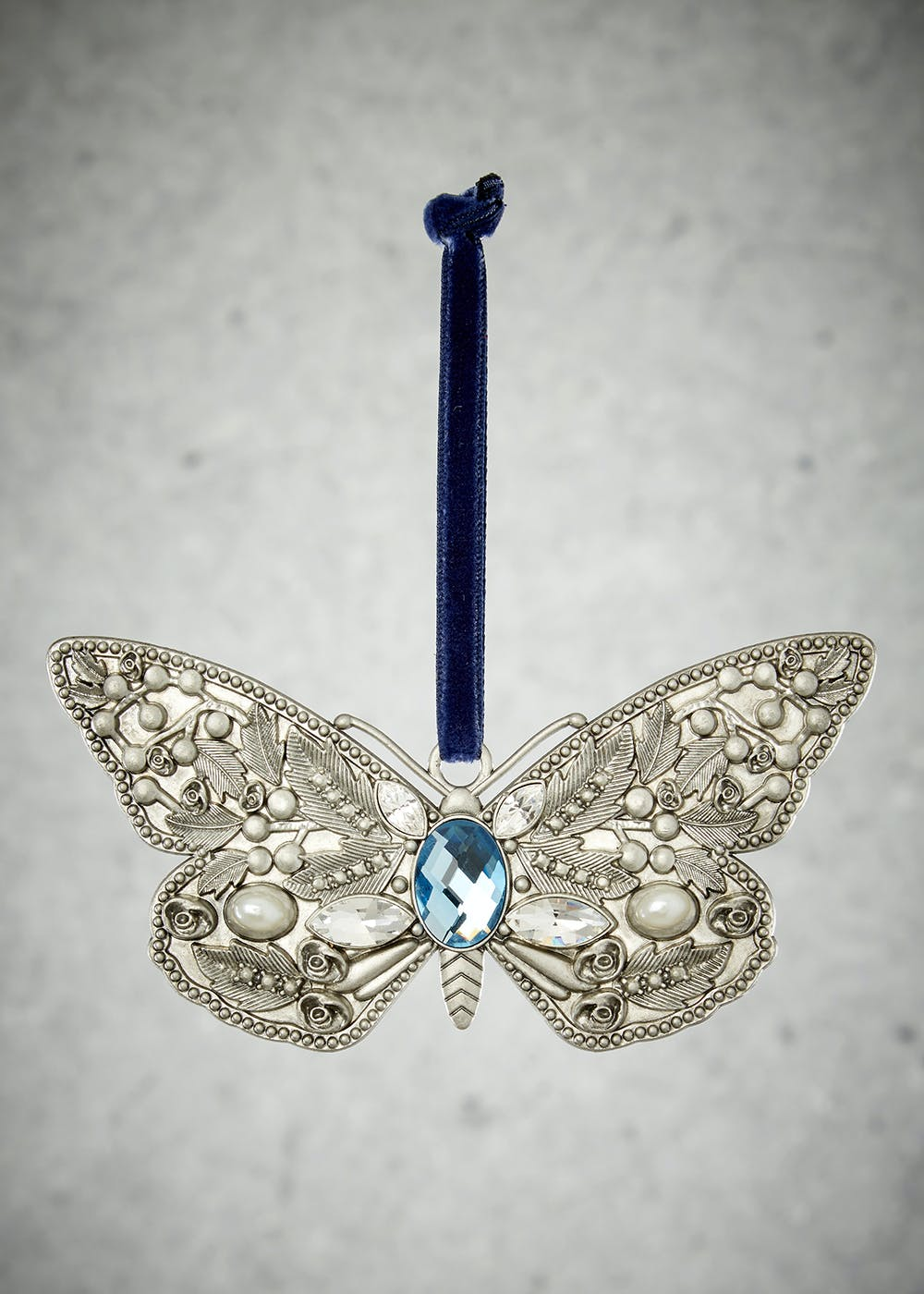 Butterfly Christmas Tree Decoration 12cm X 5cm Silver