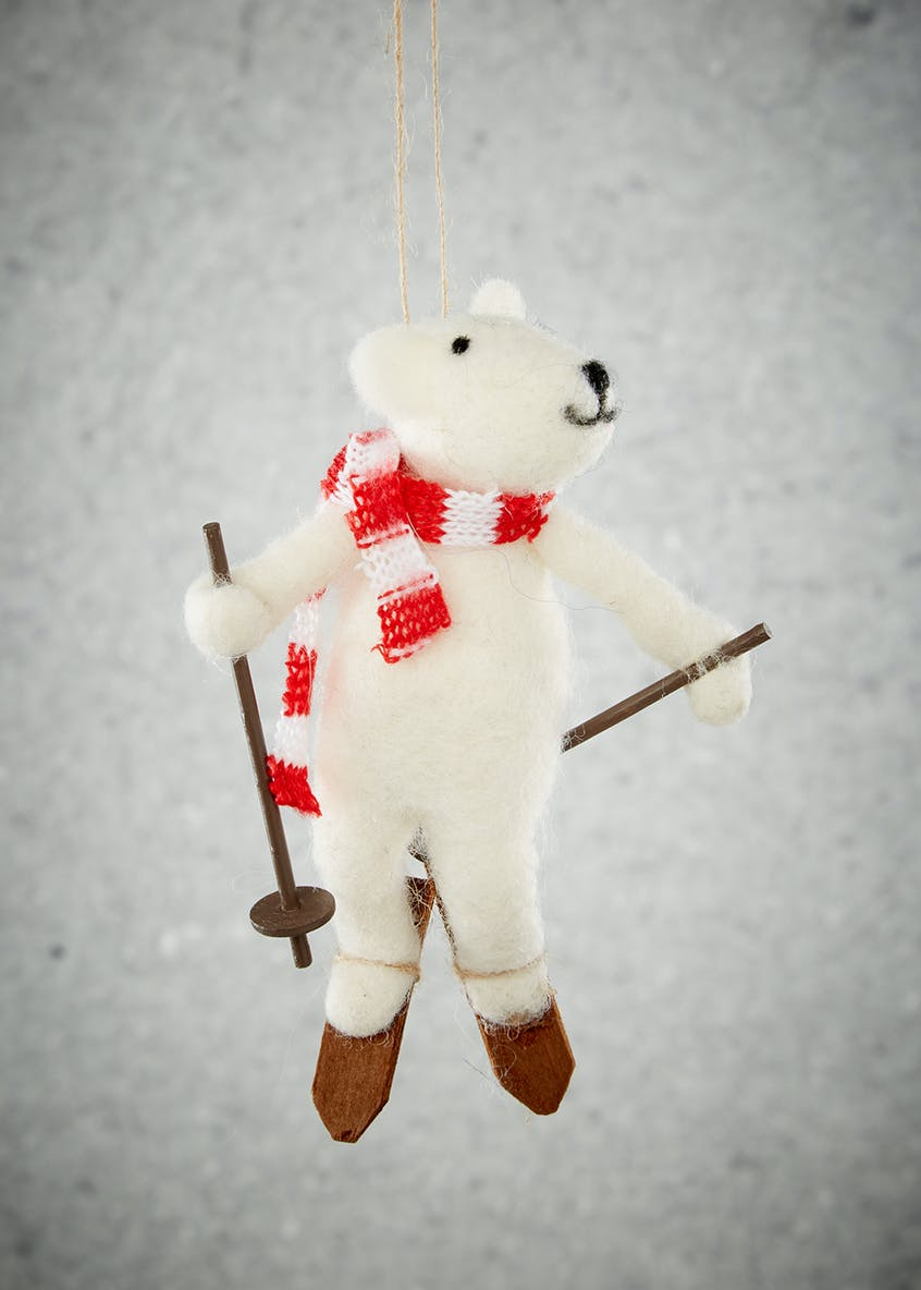 Skiing Bear Christmas Tree Decoration (14cm x 9cm)