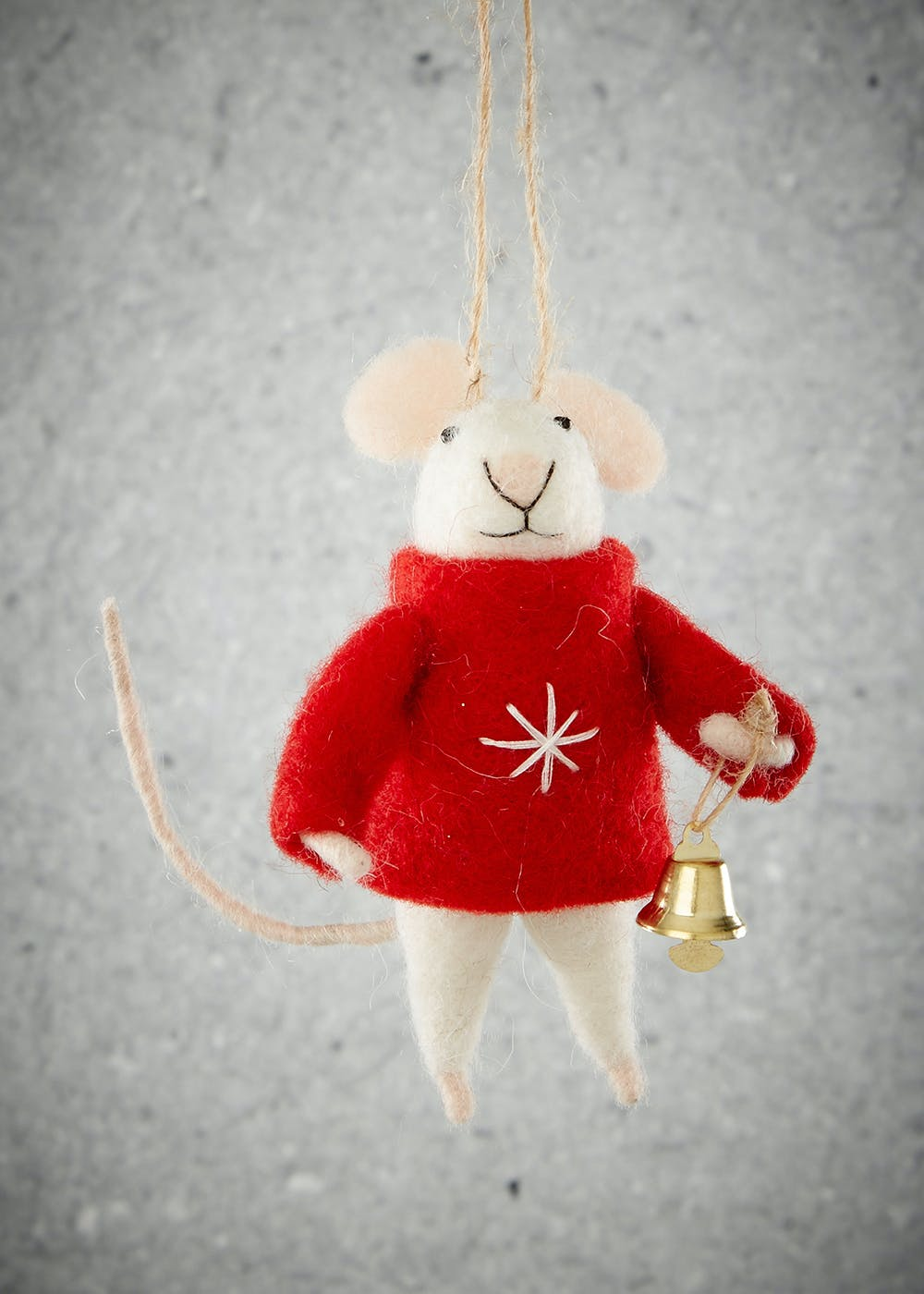 Mouse Christmas Tree Decoration 12cm X 8cm Red Matalan