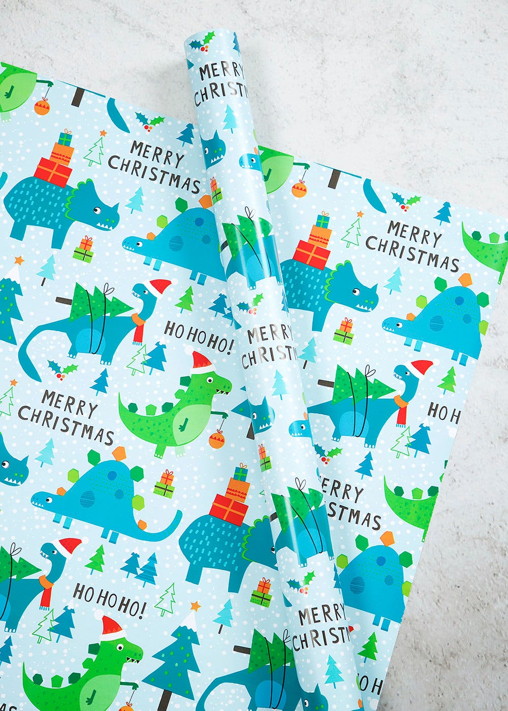 Dinosaur Christmas Wrapping Paper 10m Blue Matalan