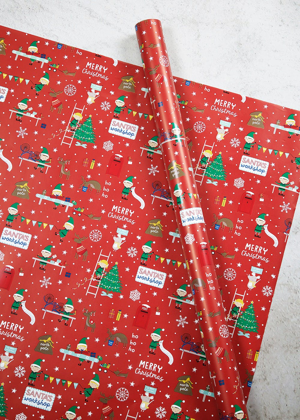 Elf Extra Wide Christmas Wrapping Paper 6m Red Matalan