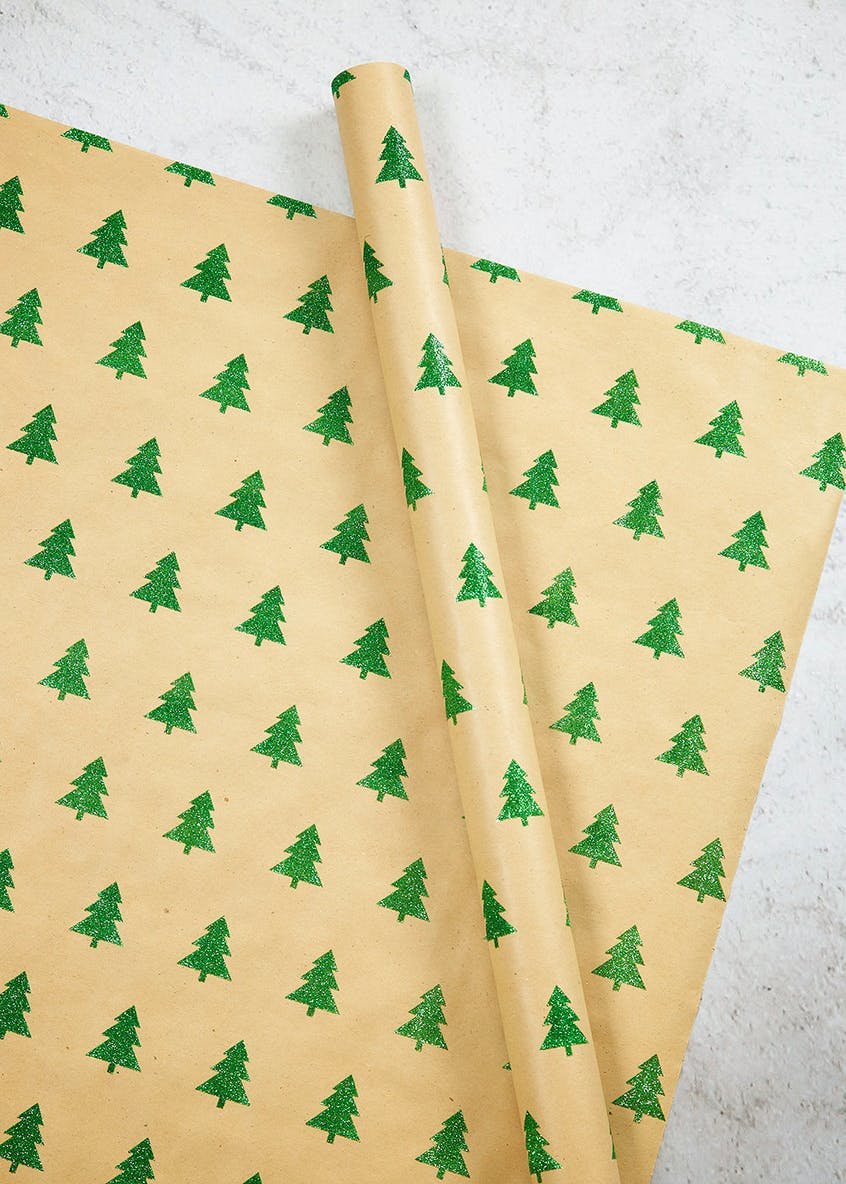 Glitter Christmas Tree Wrapping Paper (2m)