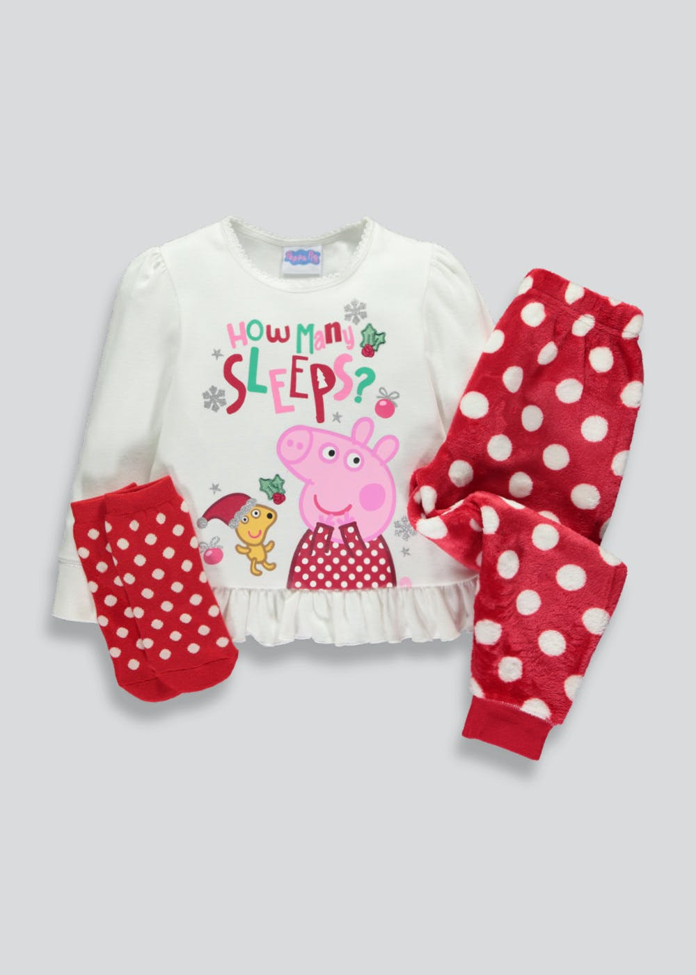 07ddad98 Kids Peppa Pig Christmas Pyjama Set & Slipper Socks (12mths-5yrs)