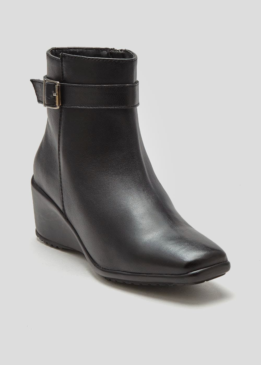 1bc29223bf62 Soleflex Real Leather Wedge Ankle Boots – Black – Matalan