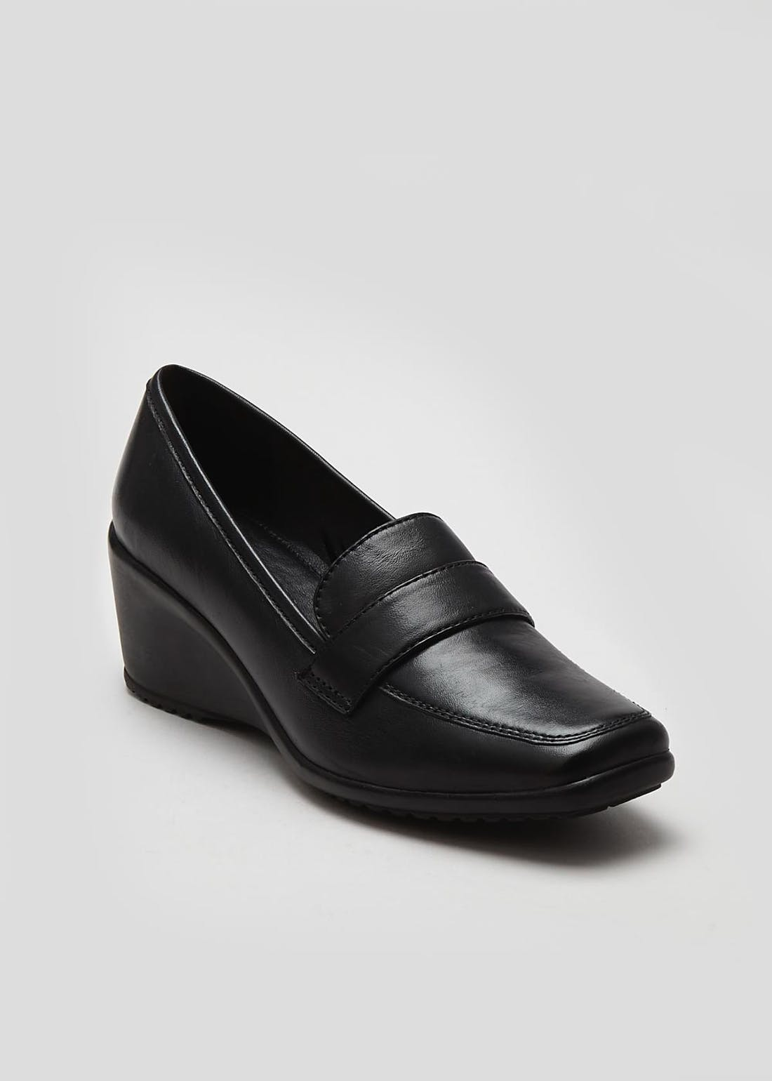 Soleflex Black Real Leather Wedge Shoes