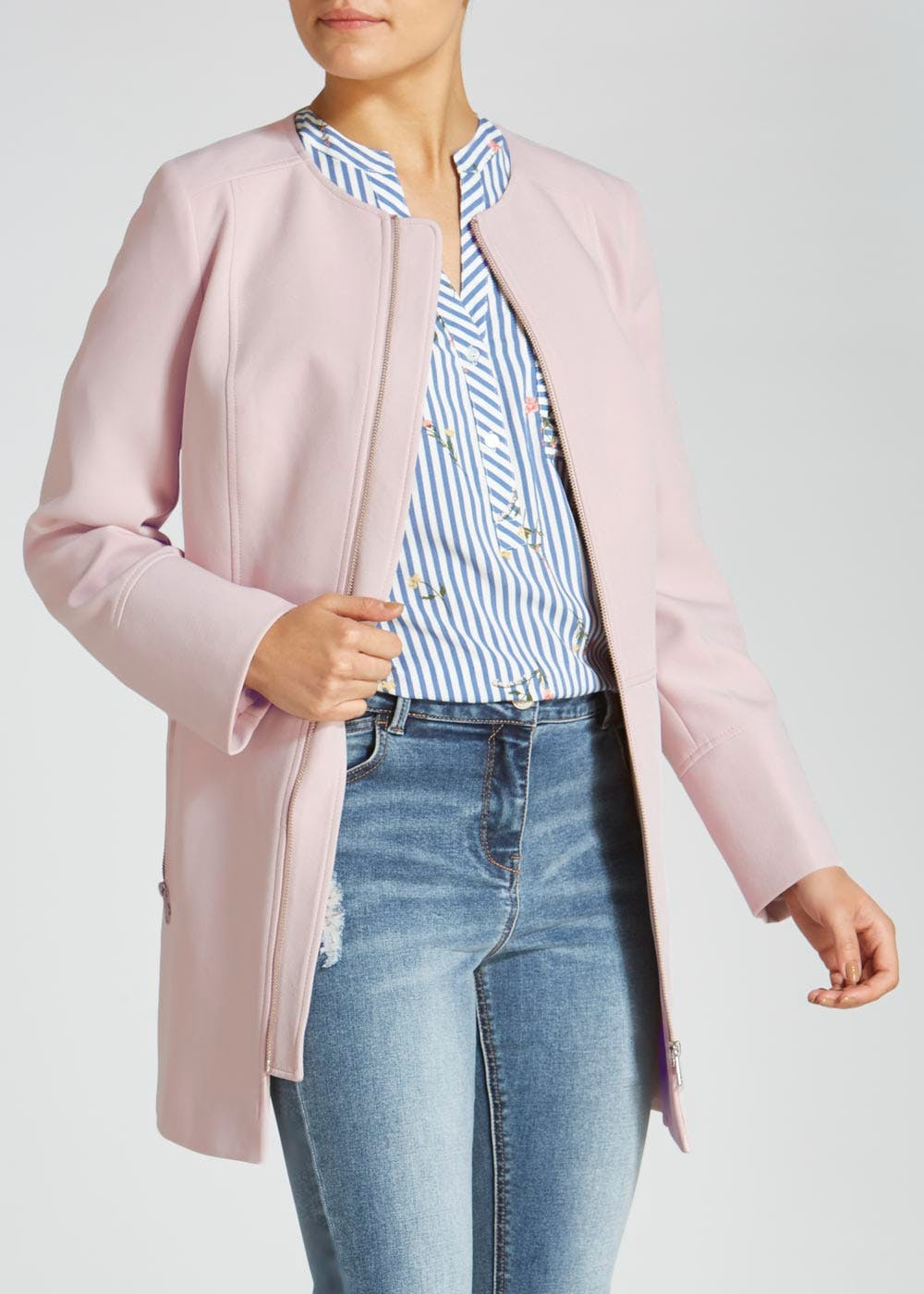 Collarless Coat – Pastel Pink – Matalan