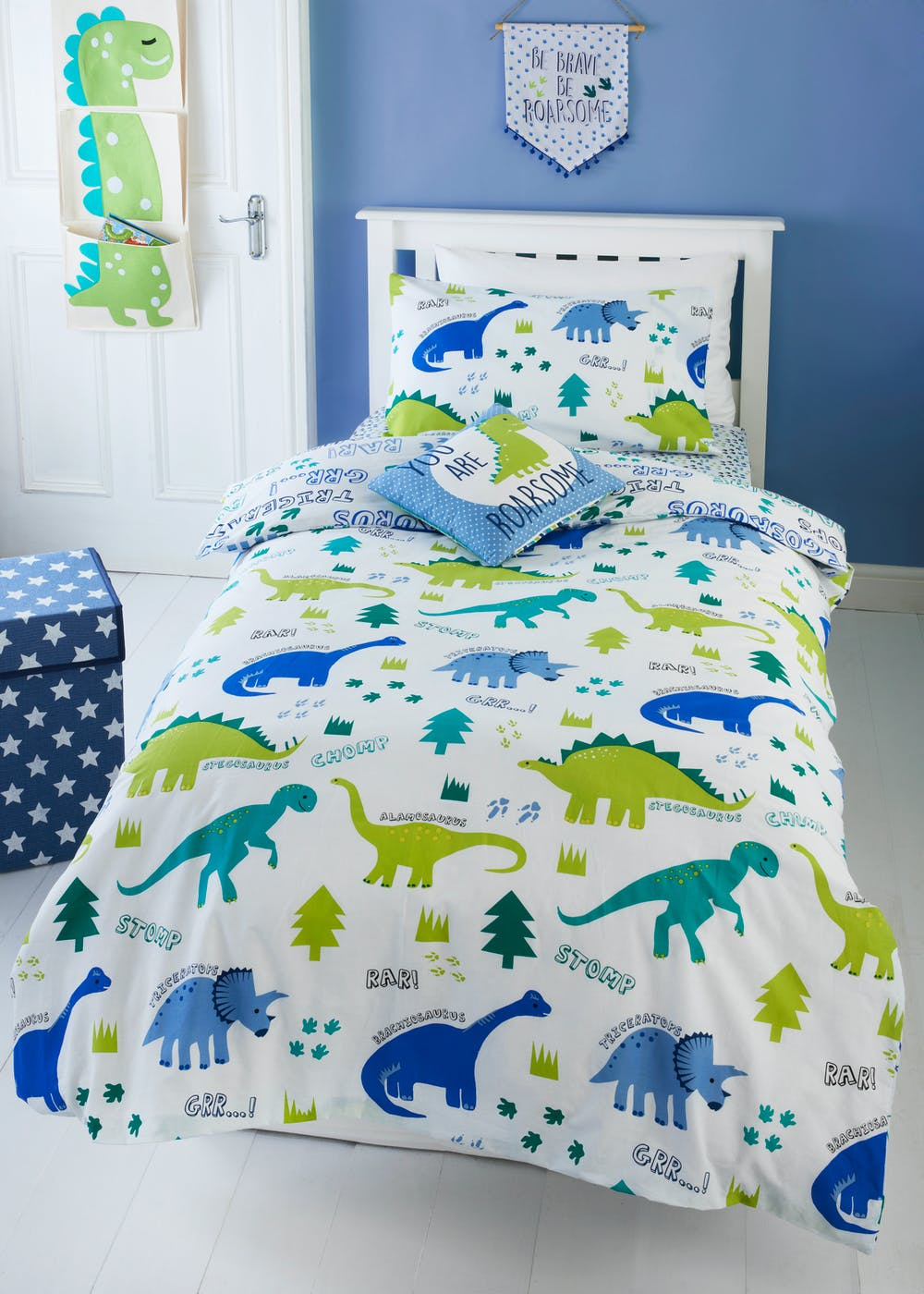 Toddler Dinosaur Print Duvet Cover Small Bed White