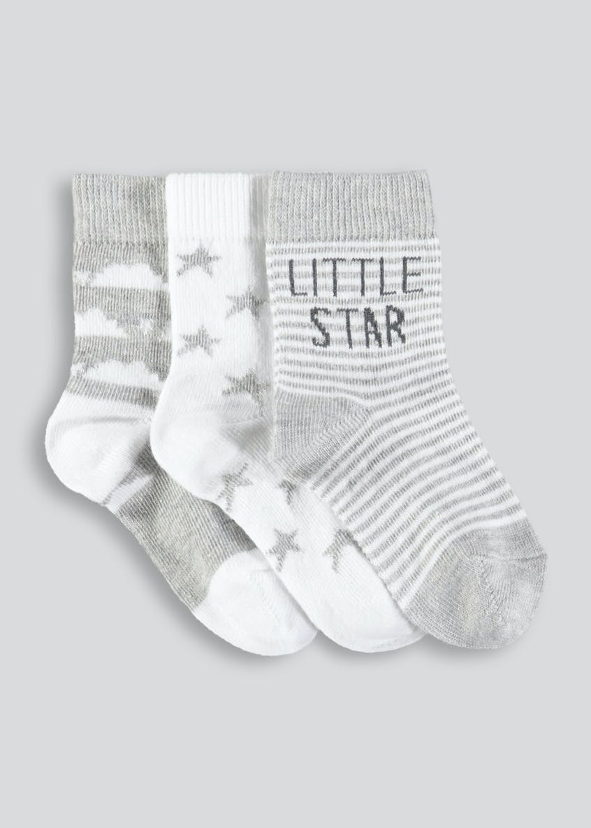 Unisex 3 Pack Star Socks (Newborn-8.5)