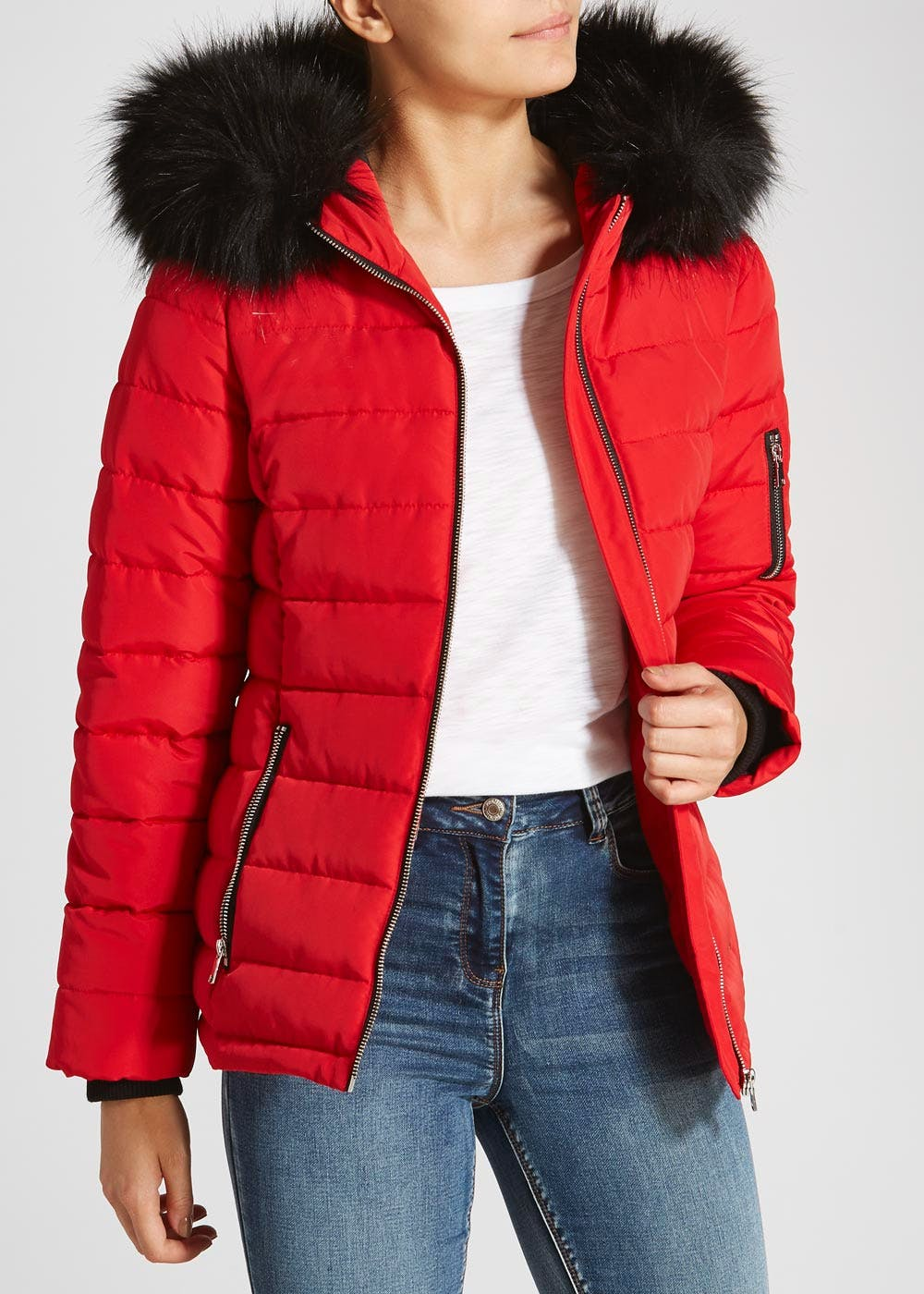 Faux Fur Hooded Short Padded Coat Red Matalan With Hood