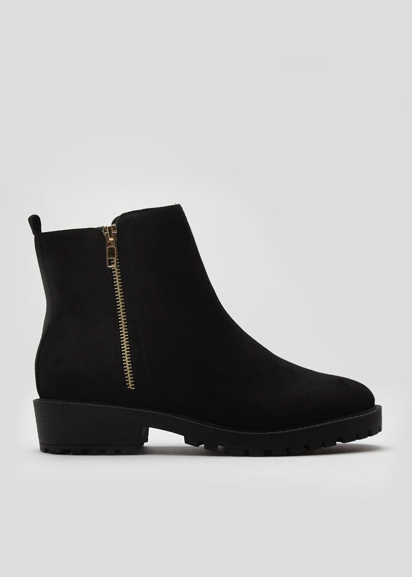 Side Zip Cleated Ankle Boots