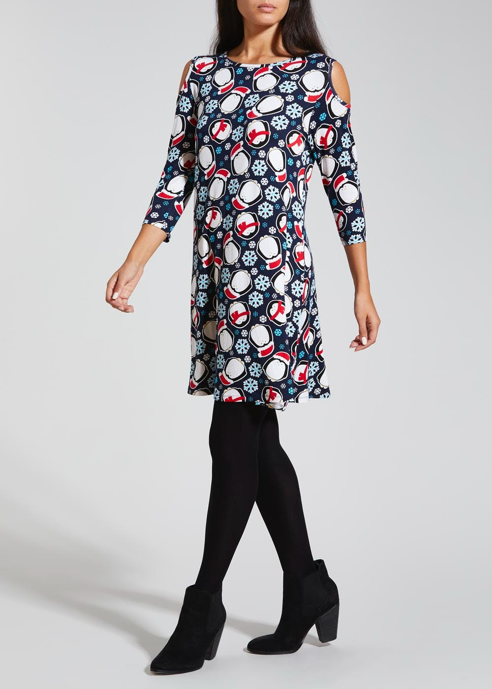 Penguin Novelty Christmas Dress – Navy – Matalan