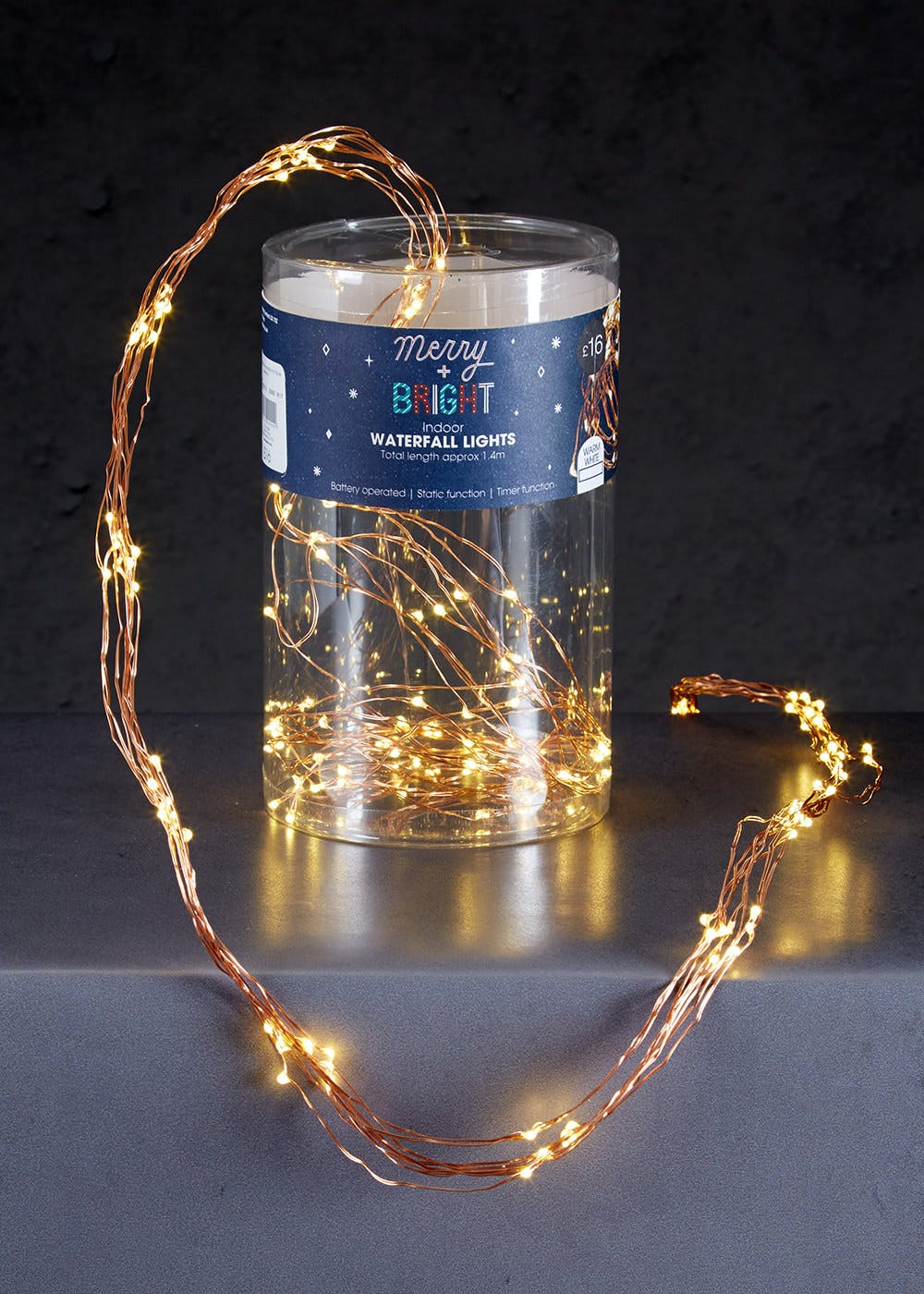 wire string christmas lights 14m - Waterfall Christmas Lights