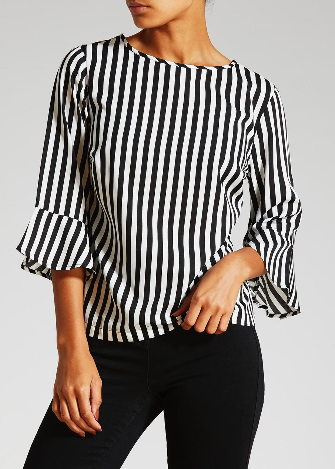 Stripe Fluted Sleeve Blouse