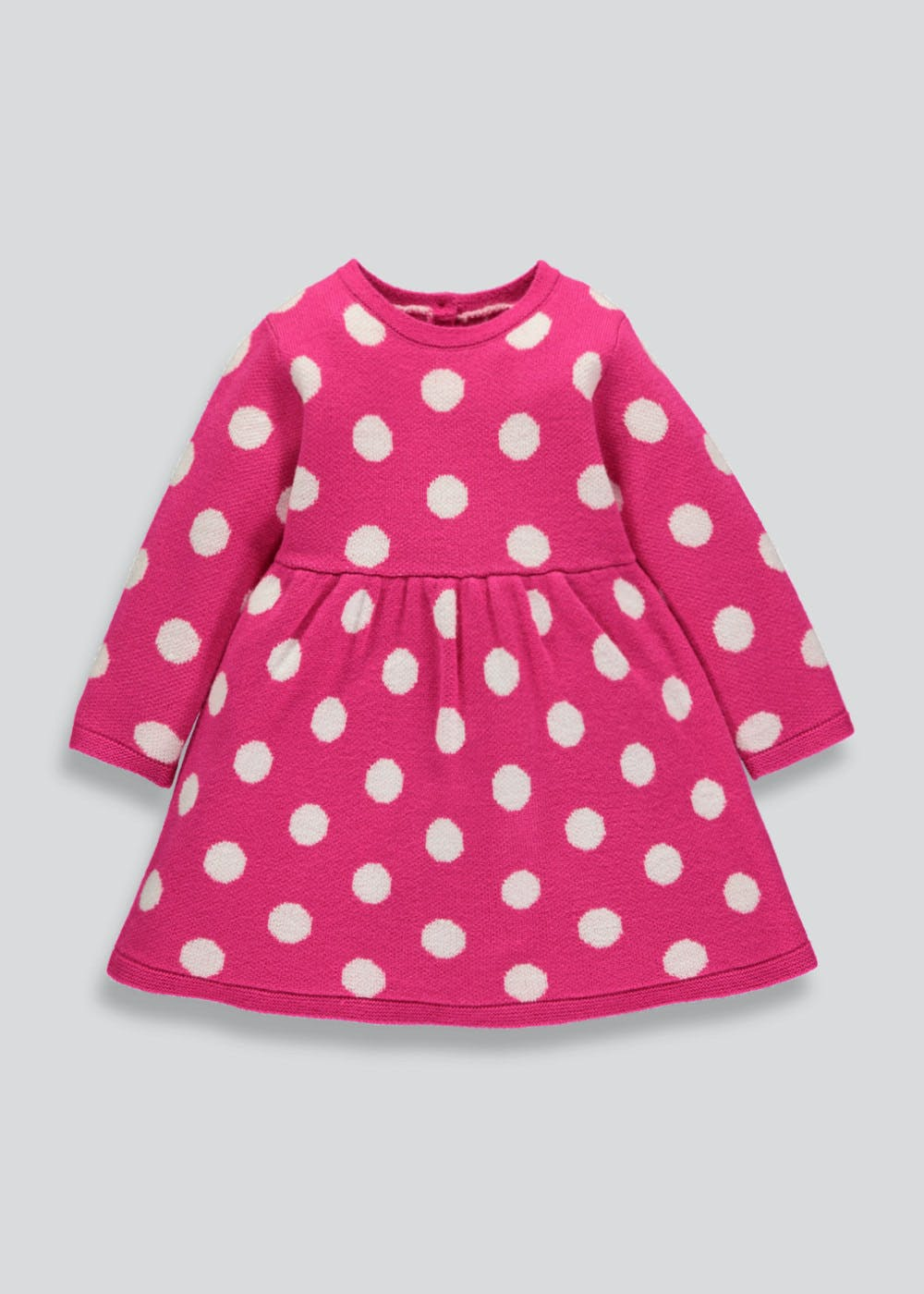 Girls Knitted Polka Dot Dress (3mths-5yrs) – Pink – Matalan