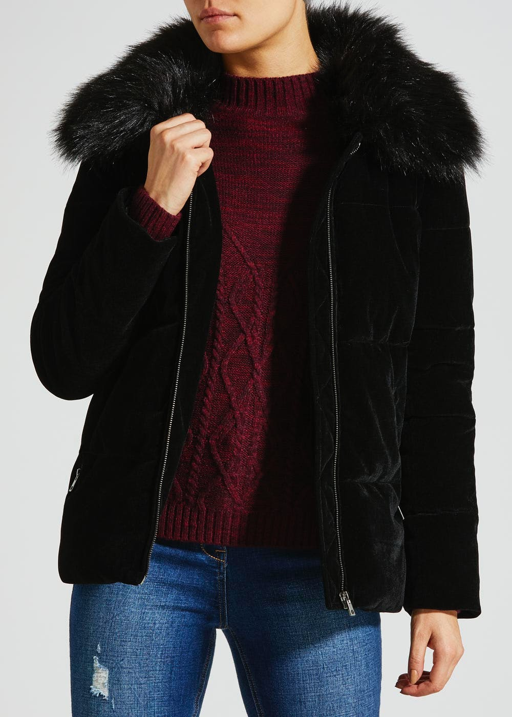 Velvet Short Padded Coat