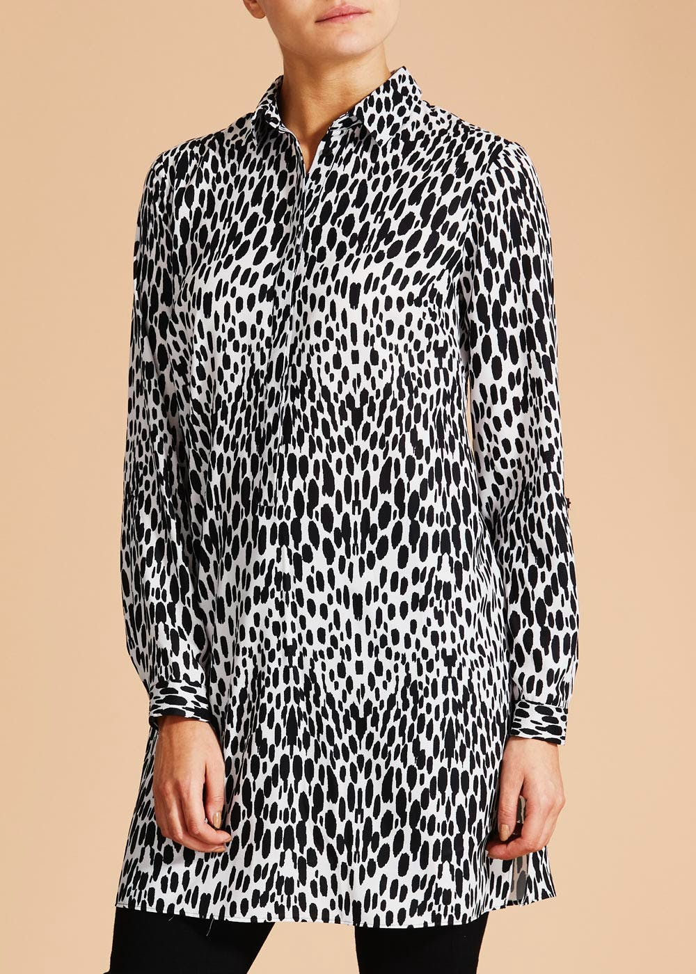 30a83e5a8b7 Soon Animal Print Longline Shirt – Black – Matalan