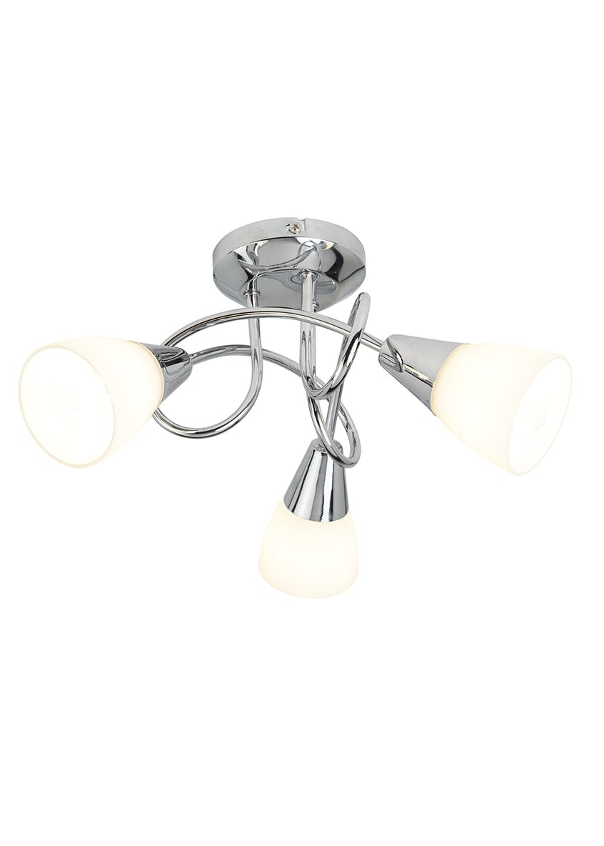 Tully 3 Arm Chrome & Opal Glass Light (W36cm x H20cm)