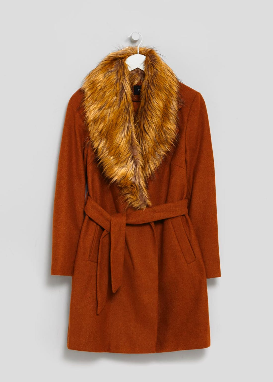 Faux Fur Collar Belted Coat