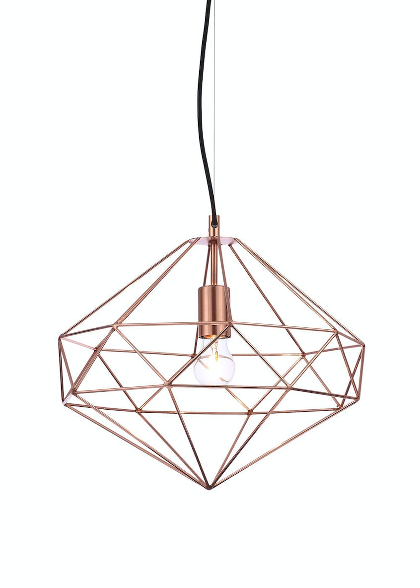 Mercury Copper Wired Pendant Light (H120cm-36cm x W40cm)
