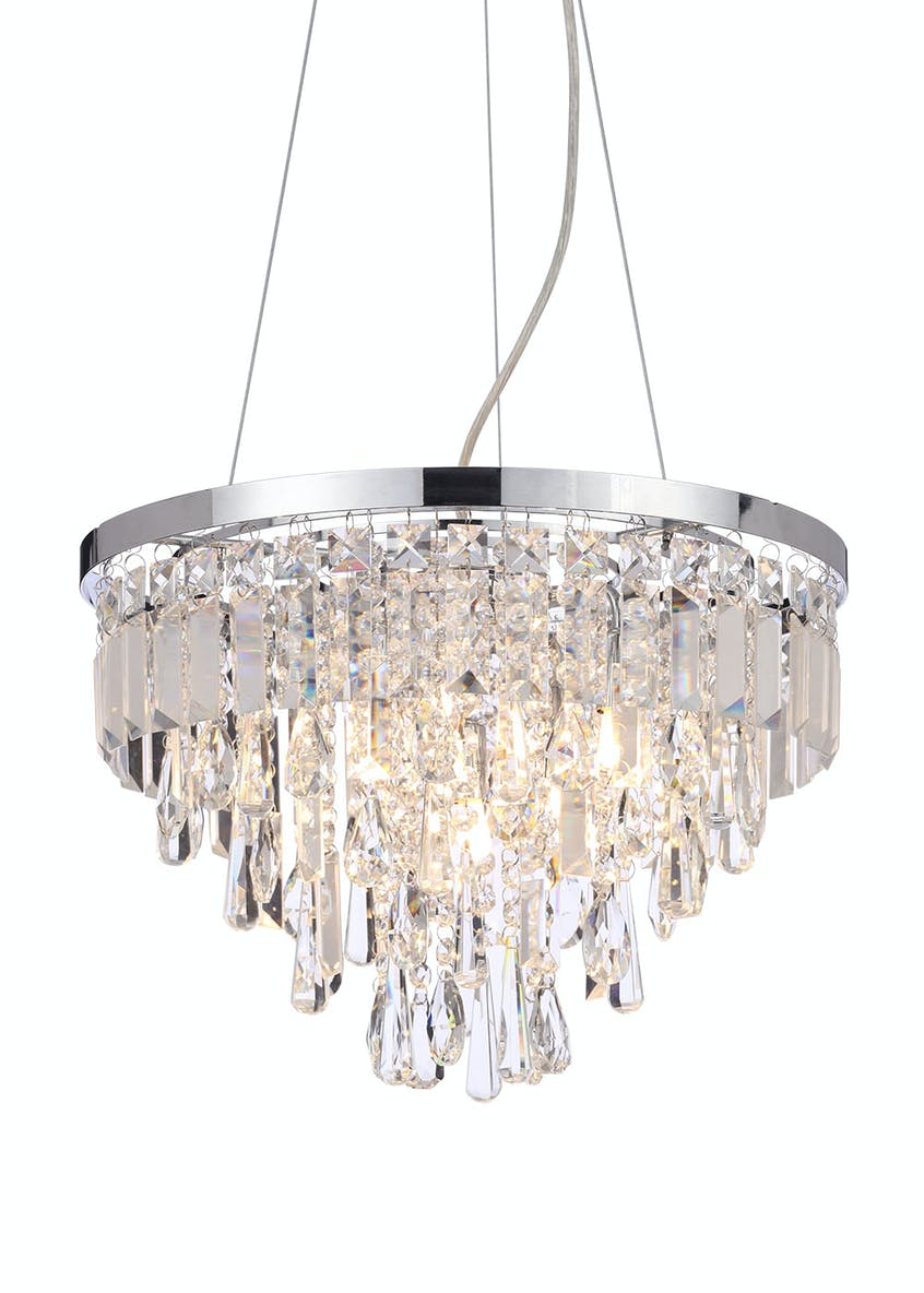 Vesta Crystal Glass Pendant Light (H100cm x W40cm)