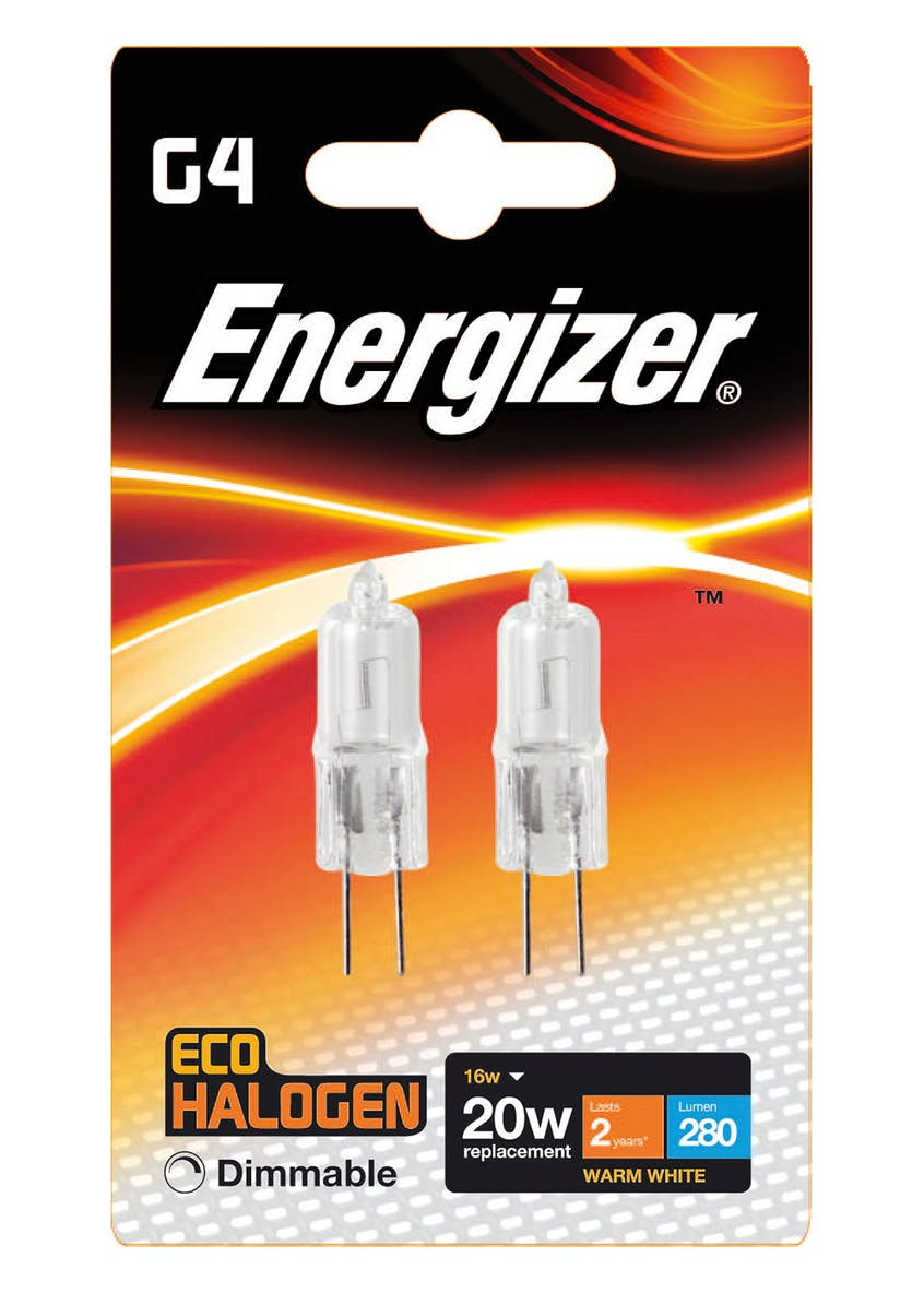 2 Pack Eco-Hal G4 Dimmable Warm Bulbs (16W)