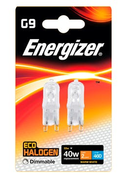 2 Pack Eco-Hal G9 Dimmable Warm Bulbs (33W)