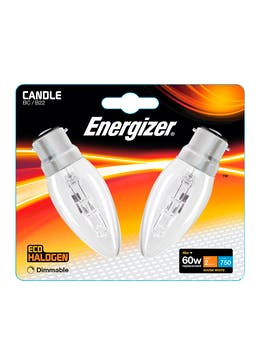 2pk Eco-Hal B22 Dimmable Warm Candle Bulbs (48W)