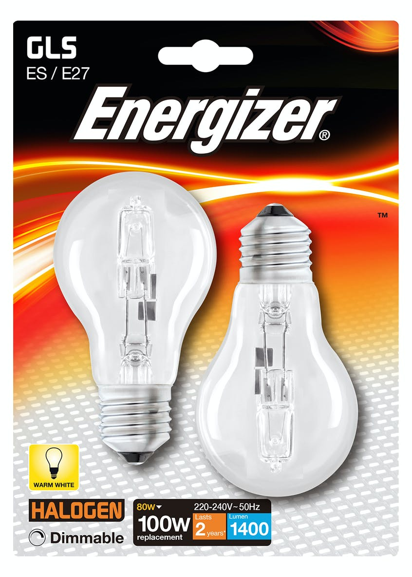 2pk Eco-Hal E27 Dimmable Warm Bulbs (80W)