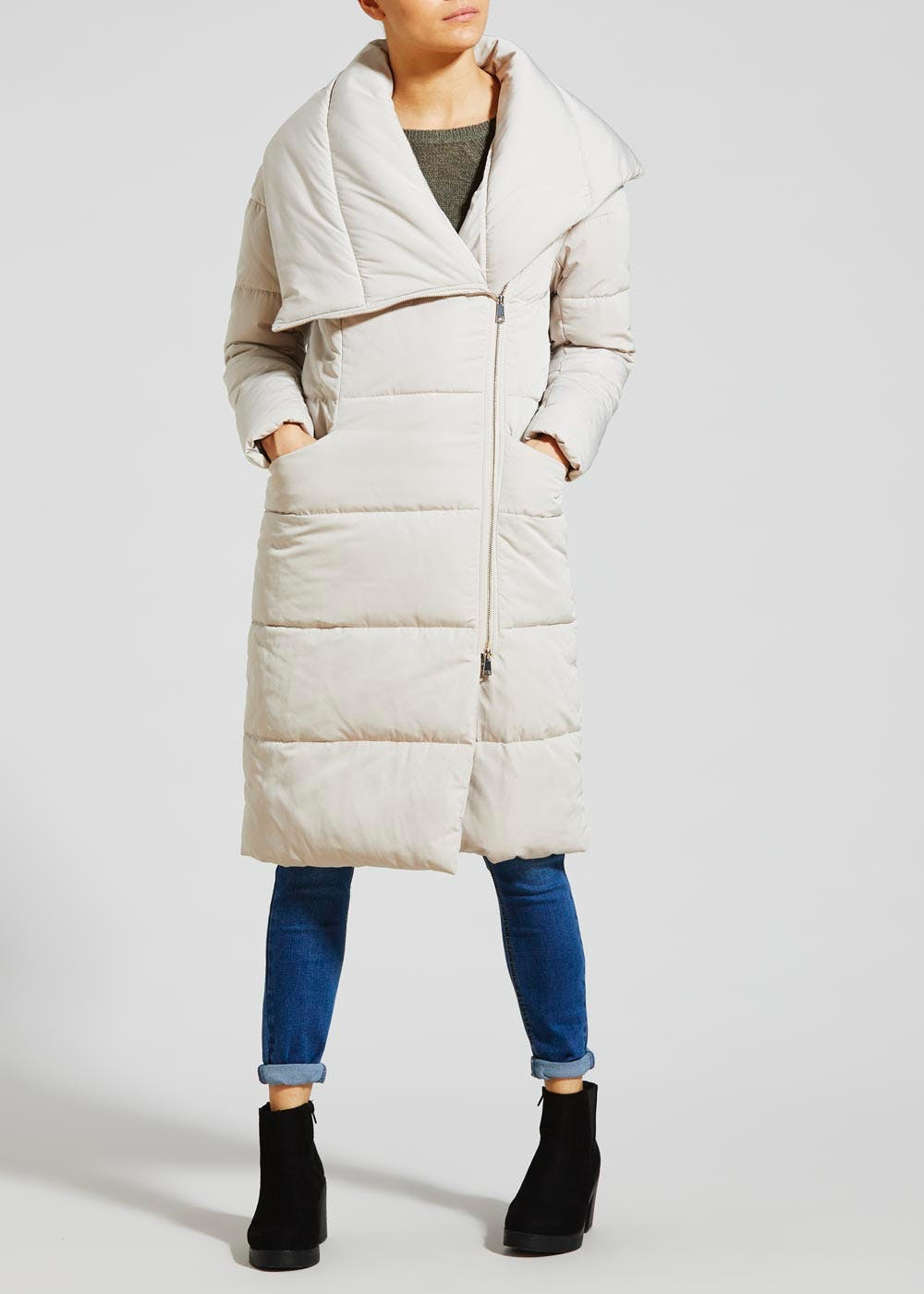 Asymmetric Long Padded Coat Stone Matalan