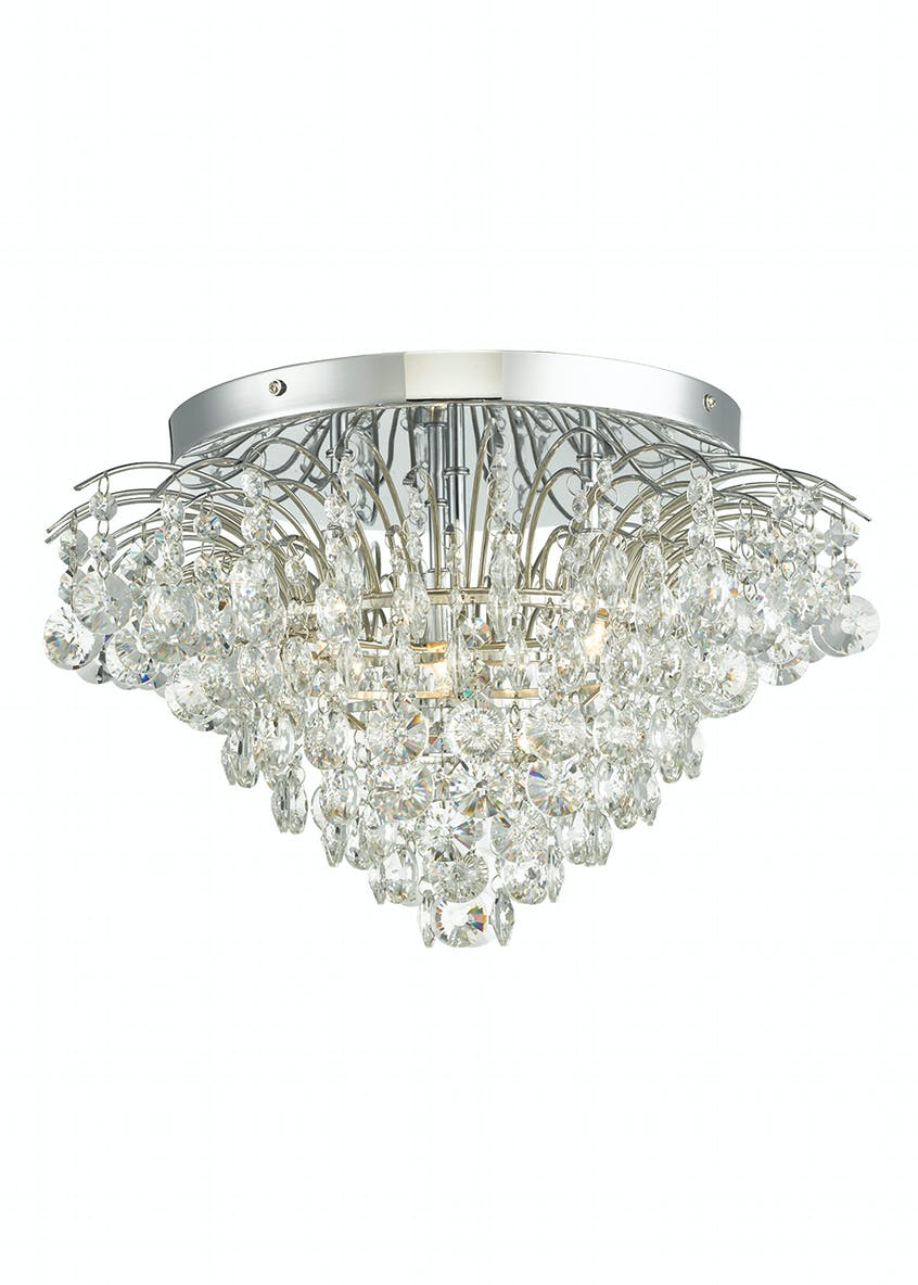 Evelyn Crystal Glass Flush Light (H30cm x W44cm)