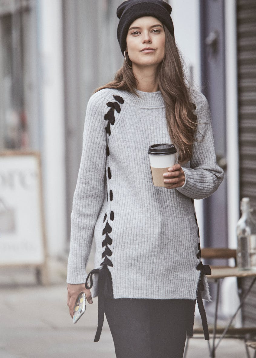 Contrast Lace Up Jumper