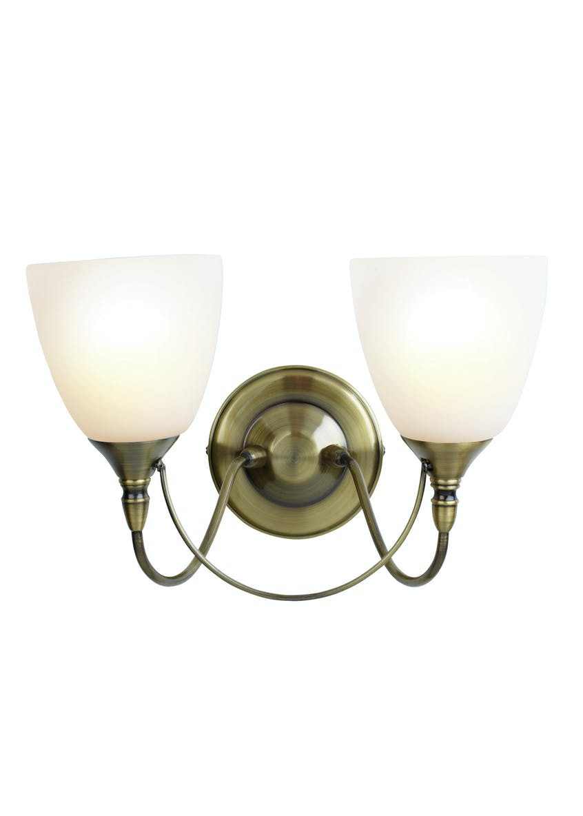 Nottingham 2 Arm Wall Light (H21cm x W27cm)