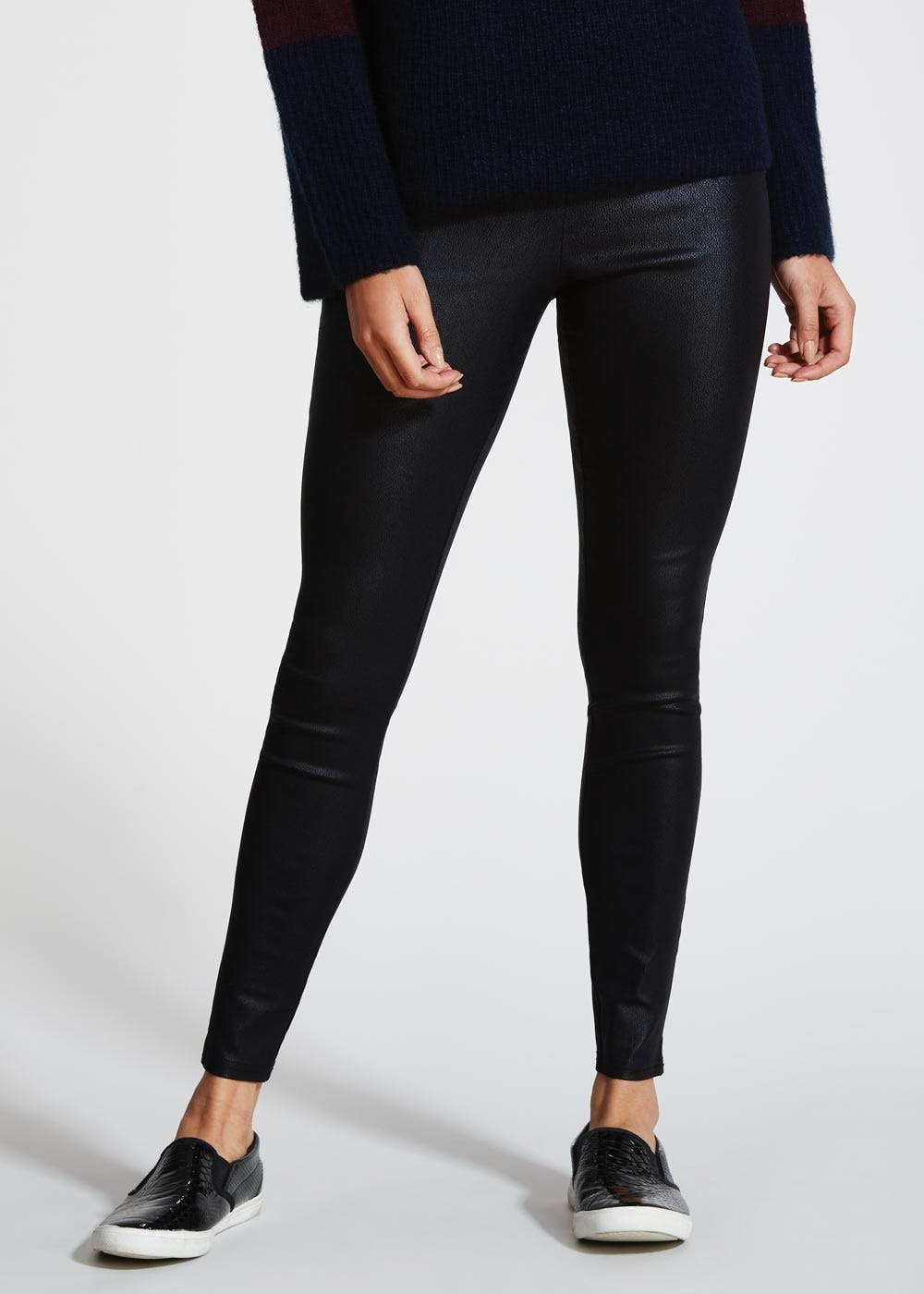 45bb0eb532d817 Coated Leggings – Black – Matalan
