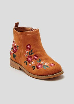Girls Embroidered Ankle Boots (Younger 4-12)