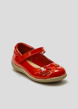 Girls Flower Patent Chunky Ballet Shoes (Younger 4-12)