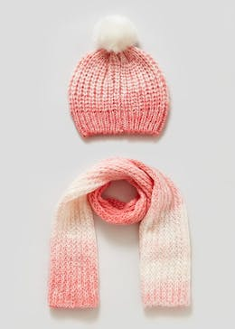 Girls Ombre Bobble Hat & Scarf Set (6mths-4yrs)