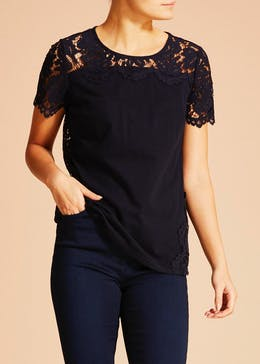 Soon Lace Back Jersey Top