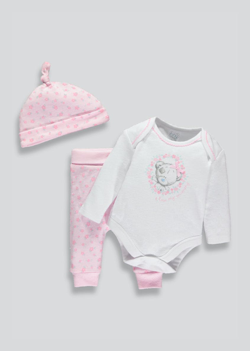 Girls Tatty Teddy 3 Piece Gift Set (Tiny Baby-6mths)