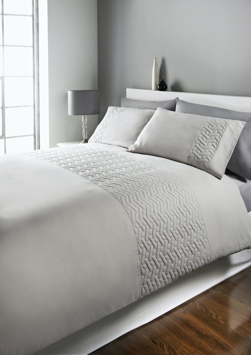 Quilted Geometric Panel Duvet Cover