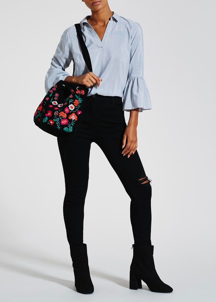 Floral Embroidered Duffle Bag
