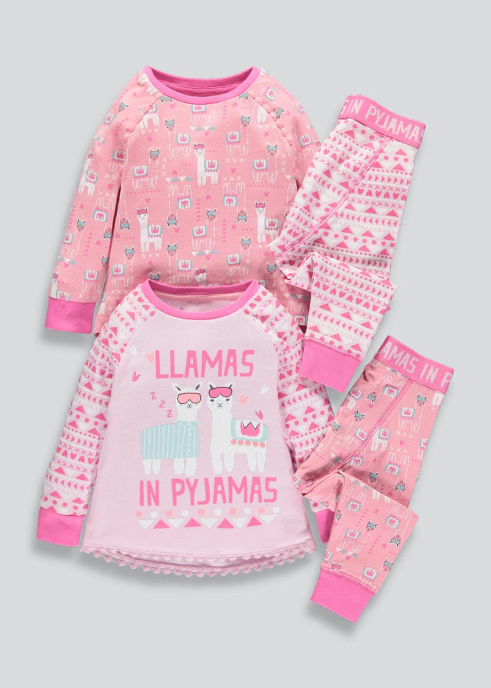Girls 2 Pack Llama Pyjamas (9mths-5yrs) – Coral – Matalan