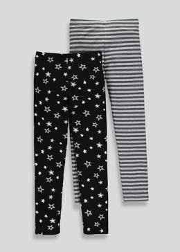 Girls 2 Pack Printed Leggings (4-13yrs)