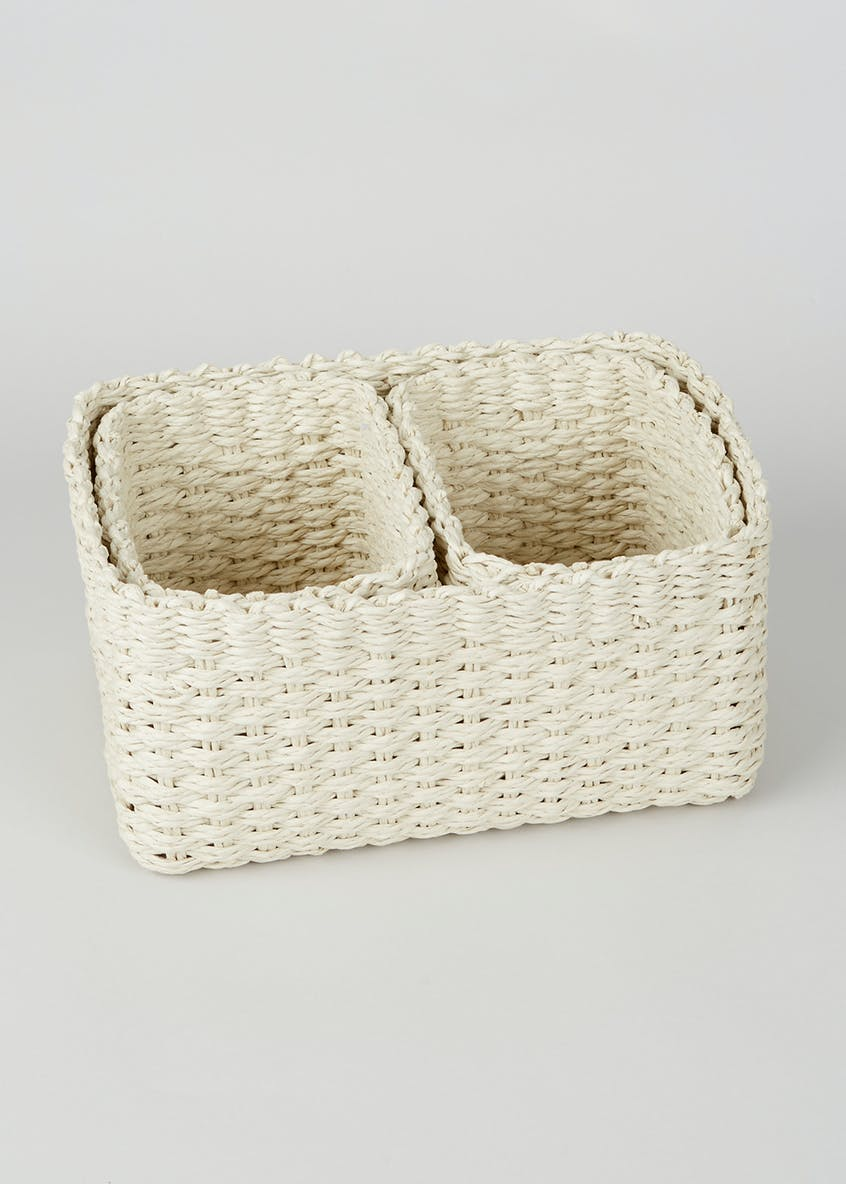 Set of 3 Paper Rope Storage Baskets