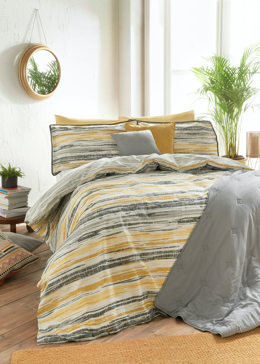 Textured Striped Duvet Cover